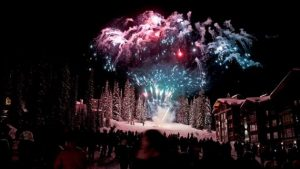 Celebrations outside Stonebridge Lodge, Big White Ski Resort