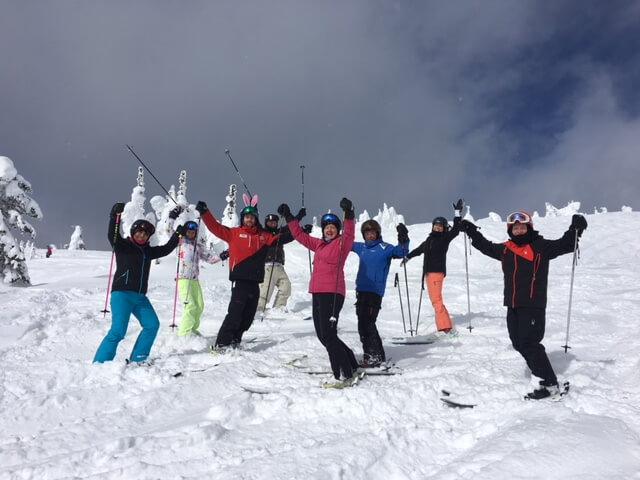 Skiing with friends at Stonebridge Big White