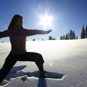 A winter sunrise yoga experience