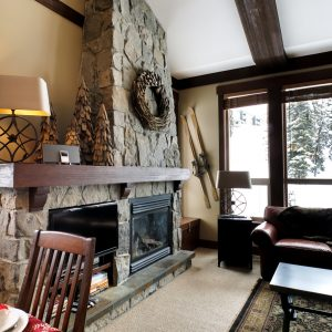 Cozy hearth at Stonebridge Lodge