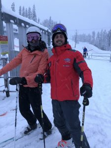 Happy skiiers as they ski-in ski-out off Bullet Express at Big White